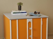 Vintage Orange Mersman Square Side/Accent Table