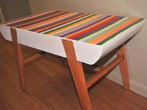 Vintage Striped Wood Bench