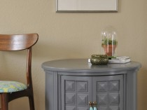 Vintage Gray Circular Side Table