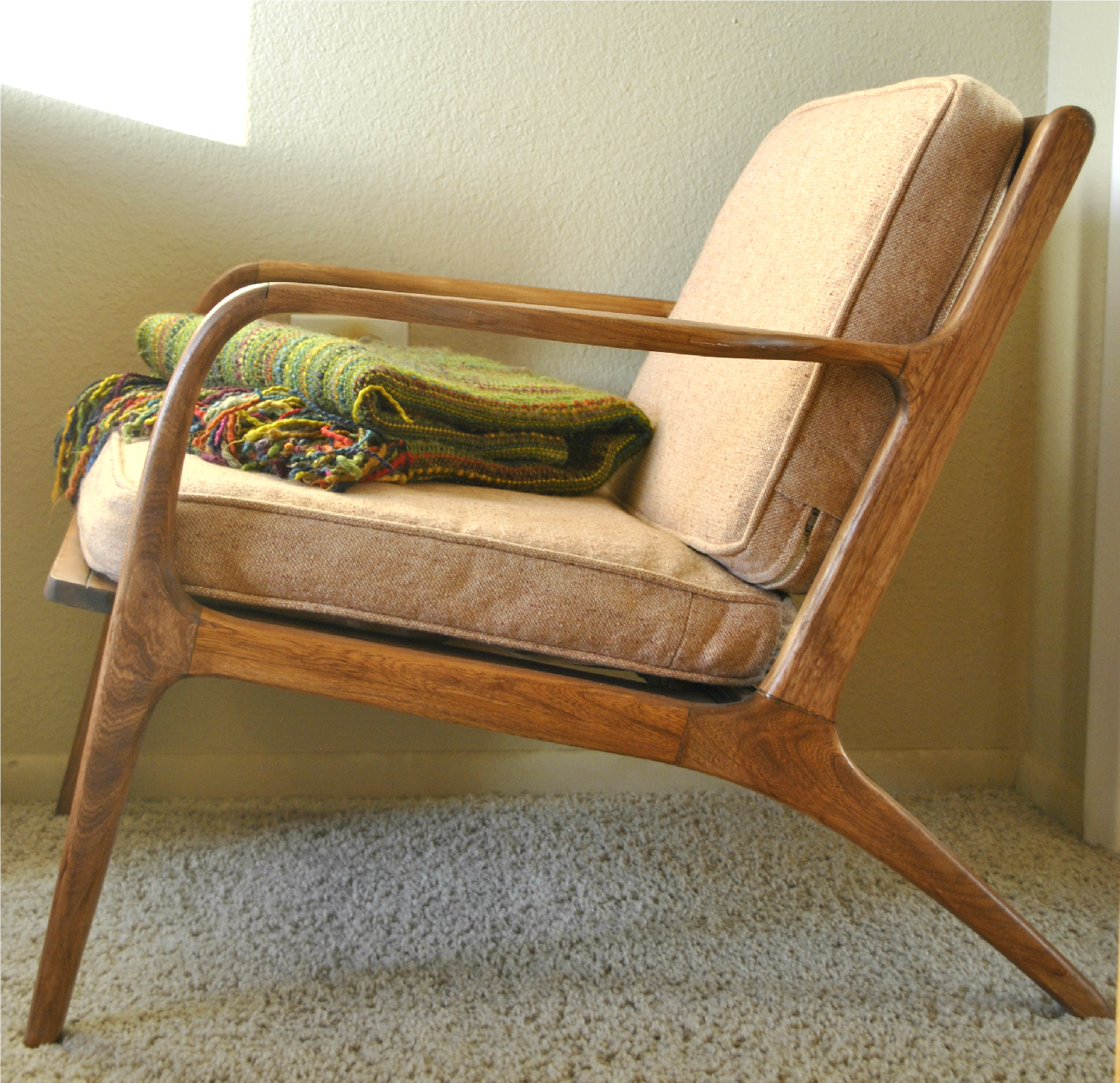 Danish mid century teak lounge chair trevi vintage design - Modern lounge chair design ...