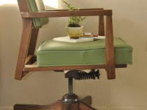 Olive Green Mid Century Walnut Office Chair