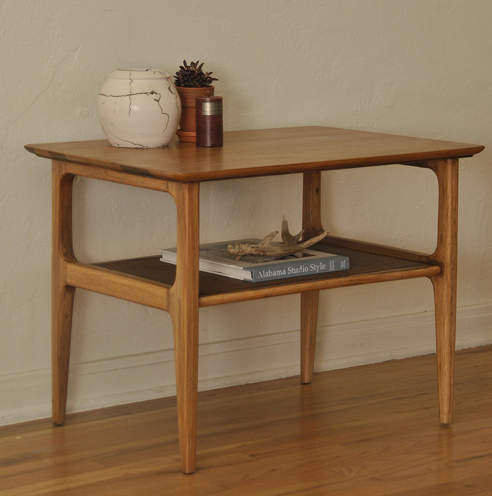Delicieux Danish Mid Century Wood Side Table With Shelf