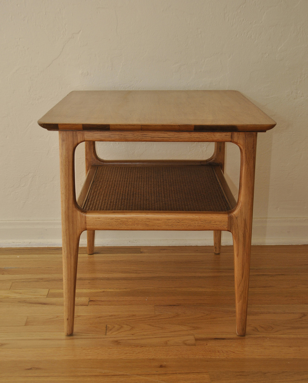 Mid Century Wood Side Table With Shelf ...