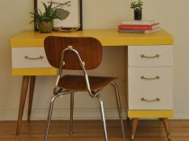 Yellow and White Mid Century Desk