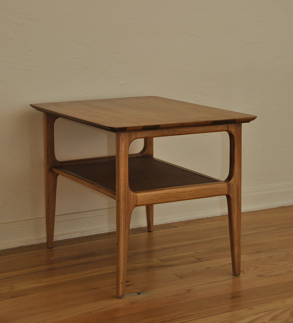 Wood Side Tables ~ Danish mid century wood side table with shelf trevi