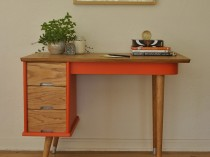 Vintage Orange Mid Century Desk