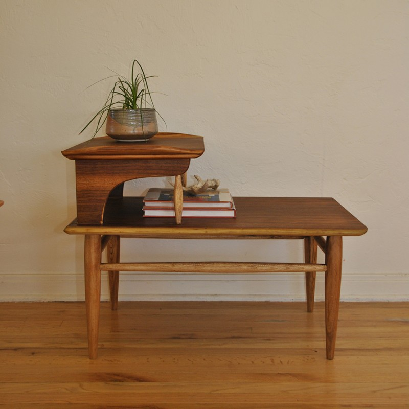 Danish Mid Century Two Tier Wood Side Table Trevi