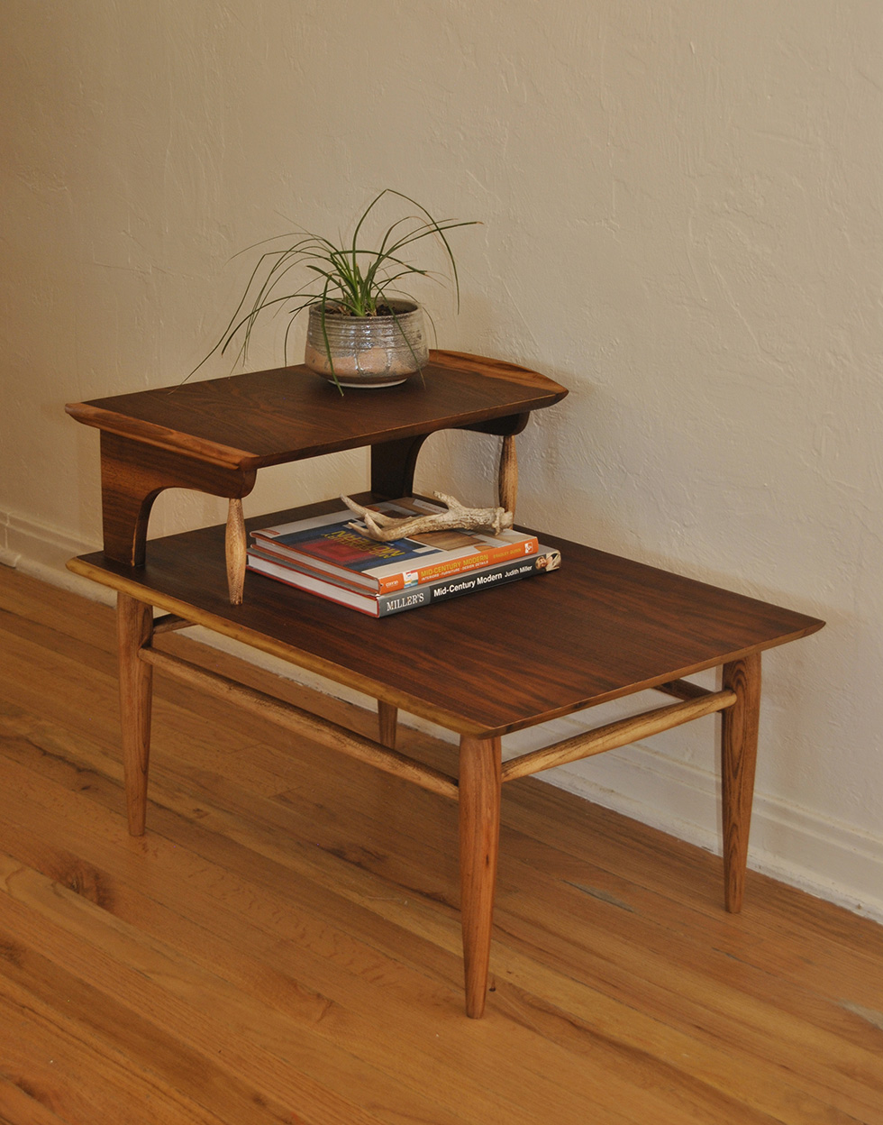 Mid Century Two Tier Wood Side Table ...