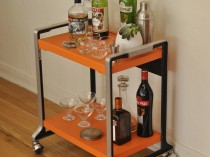 Vintage Orange Bar Cart/Rolling Cart