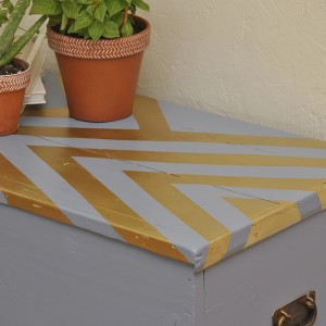 Vintage Blue Chevron Trunk/Coffee Table