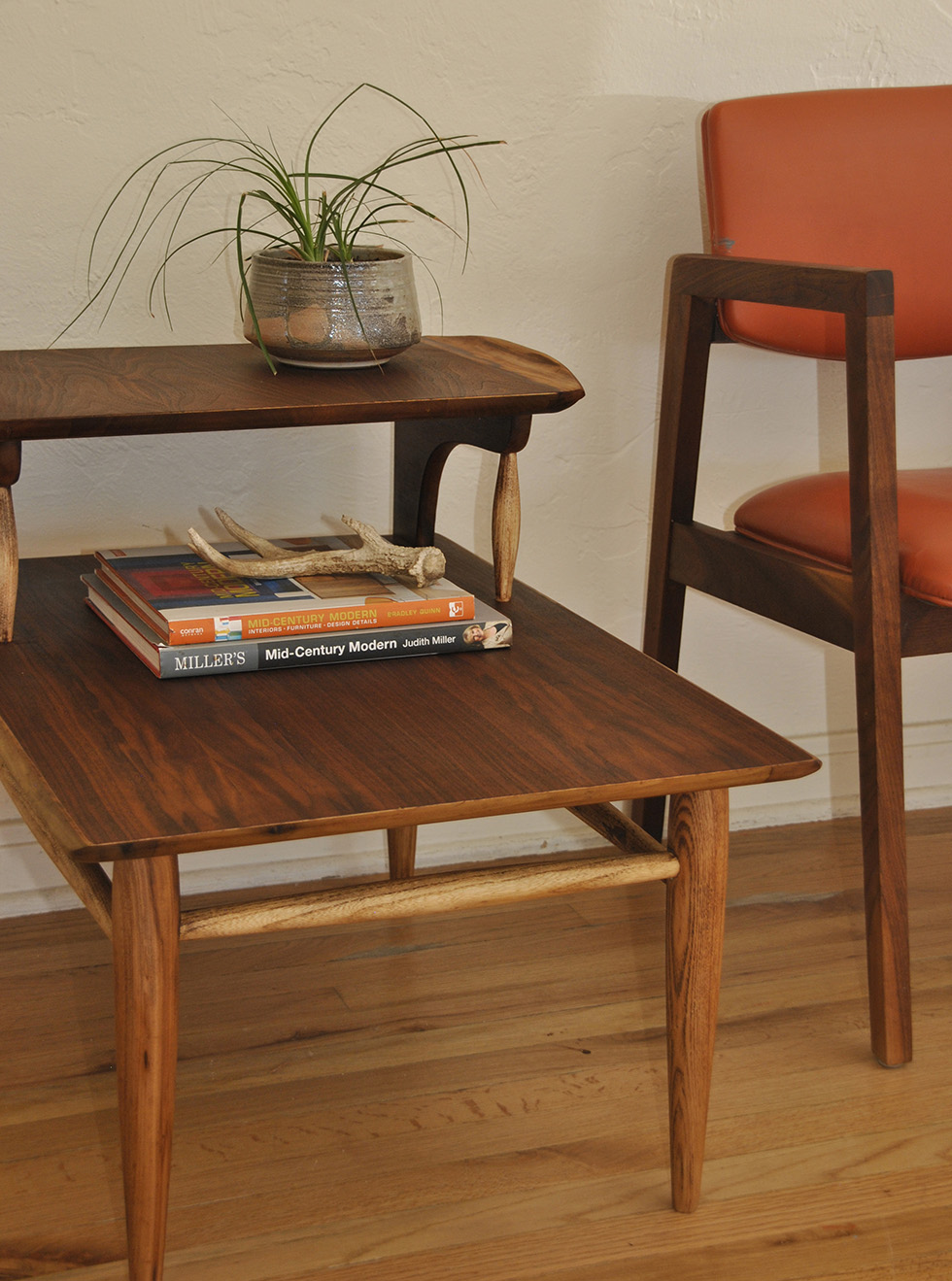 Beau ... Mid Century Two Tier Wood Side Table ...