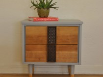Grey Mid Century Two Drawer Side Table/Nightstand