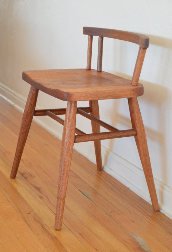 Nice Vintage Solid Wood Low Back Mid Century Style Chair