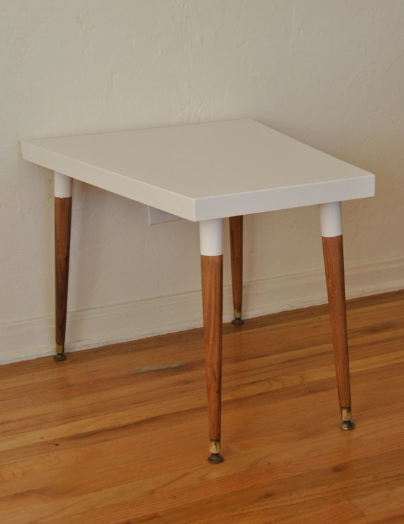 Mid Century White Side/Accent Table